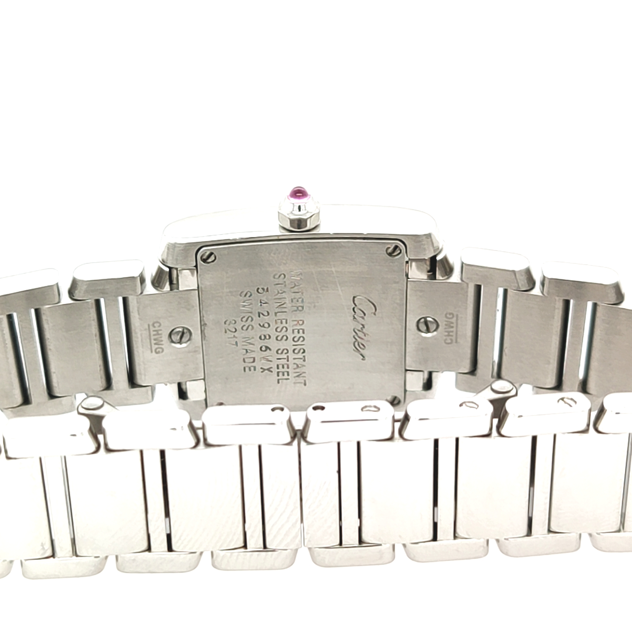 Cartier Stainless Steel Diamond Set Tank Francaise