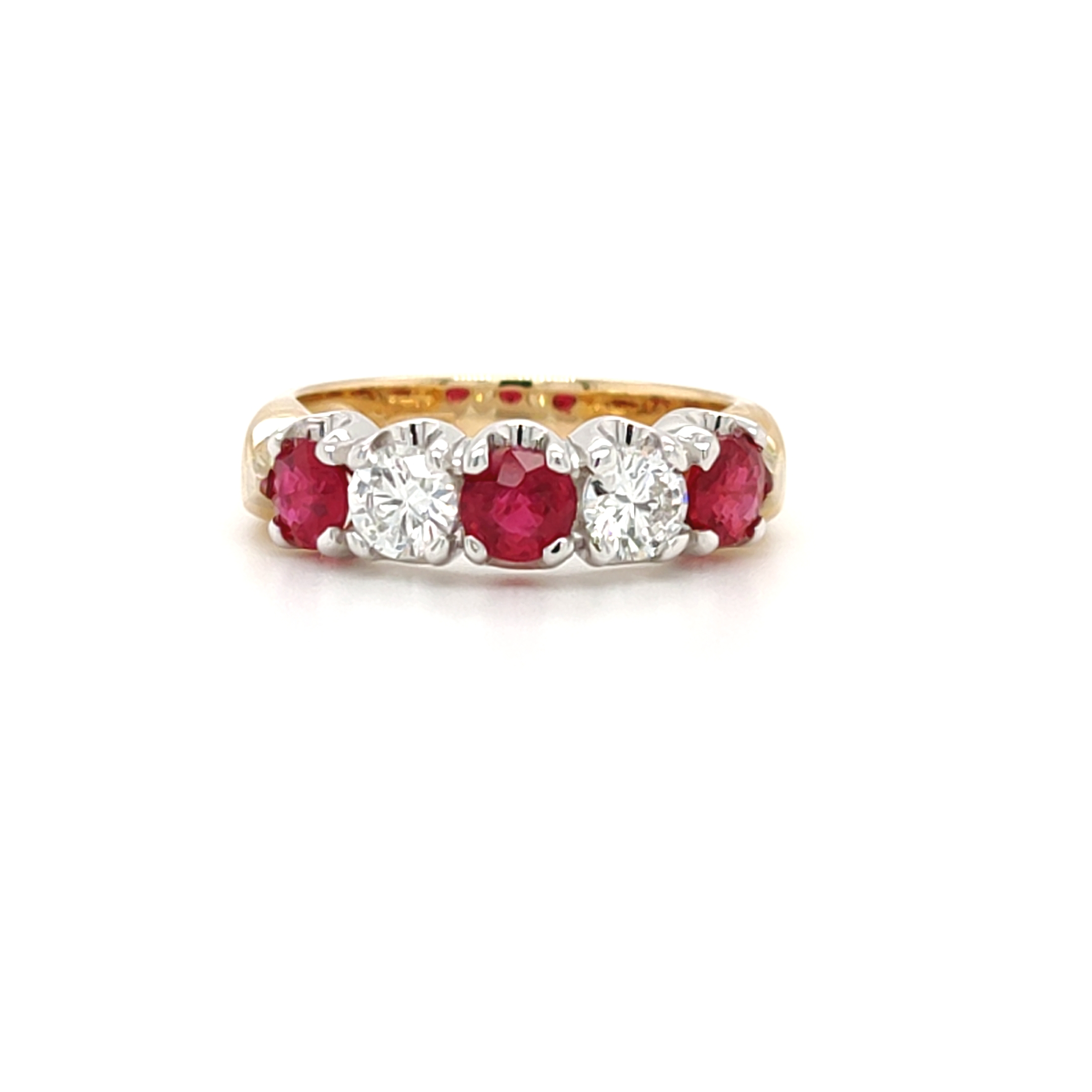 1.20ct Ruby and 0.61ct Diamond 5 Stone Ring
